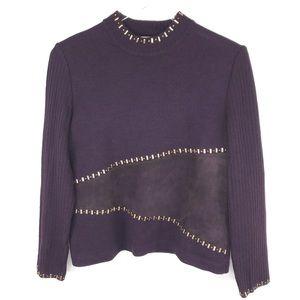 ST. JOHN Long Sleeve Purple Sweater